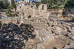 Ruins of a Byzantine church and Crusader church in the ruins of the Pools of Bethesda next to the Church of Saint Anne in the Muslim Quarter of the Old City of Jerusalem.  The Old City of Jerusalem and its Walls is a UNESCO World Heritage Site.  In the foreground are the ruins of the Roman baths.  These were the healing baths of Bethesda at the time of Christ.