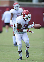 NWA Democrat-Gazette/ANDY SHUPE<br /> Arkansas defensive back Santos Ramirez catches a ball Thursday, Aug. 13, 2015, during practice at the university practice field in Fayetteville.
