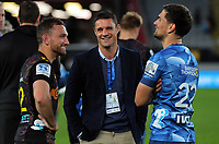 Aaron Cruden, Dan Carter and Otere Black chat after the Super Rugby Aotearoa match between the Blues and Chiefs at Eden Park in Auckland, New Zealand on Sunday, 26 July 2020. Photo: Dave Lintott / lintottphoto.co.nz