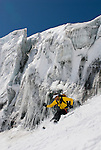 Skiing the Glacier du Mont Durand while touring the classic Haute Route in Switzerland.