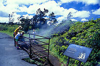 A family on vacation peers into a steam vent from Kilauea volcano at Hawaii Volcanoes National Park.