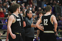 Charleston head coach BJ Ross talks to his players, Friday, February 14, 2020 during a basketball game at Elkins High School in Elkins. Check out nwaonline.com/prepbball/ for today's photo gallery.<br /> (NWA Democrat-Gazette/Charlie Kaijo)