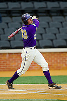 Austin Neary (33) of the Western Carolina Catamounts follows through on his swing against the Wake Forest Demon Deacons at Wake Forest Baseball Park on March 26, 2013 in Winston-Salem, North Carolina.  The Demon Deacons defeated the Catamounts 3-1.  (Brian Westerholt/Four Seam Images)