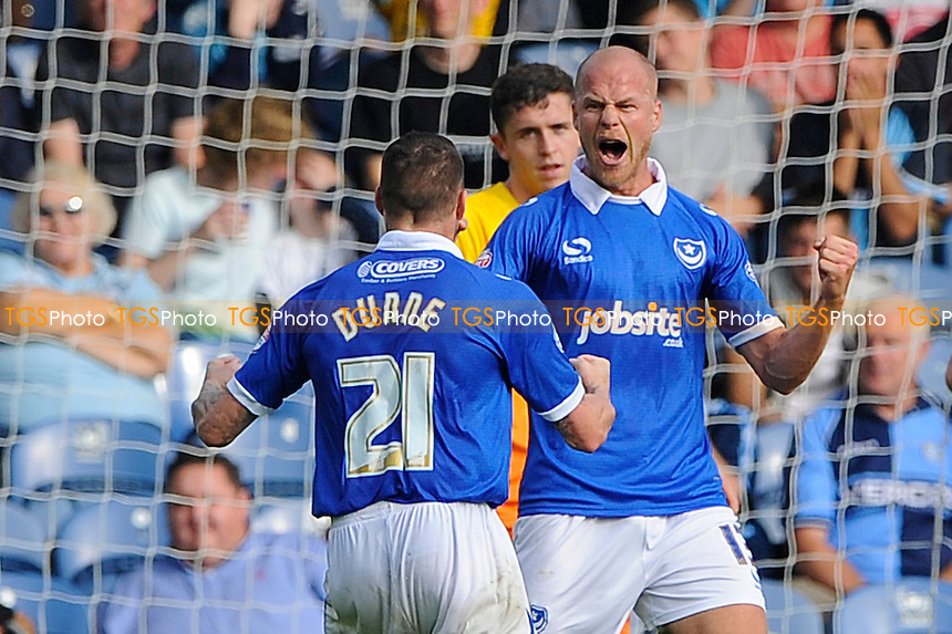 Jonannes Ertl of Portsmouth celebrates his goal with James Dunne of Portsmouth - Portsmouth vs Wycombe Wanderers - Sky Bet League Two Football at Fratton Park, Portsmouth, Hampshire - 20/09/14 - MANDATORY CREDIT: Denis Murphy/TGSPHOTO - Self billing applies where appropriate - contact@tgsphoto.co.uk - NO UNPAID USE