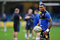 Semesa Rokoduguni of Bath Rugby with the ball during the pre-match warm-up. Aviva Premiership match, between Bath Rugby and Worcester Warriors on December 27, 2015 at the Recreation Ground in Bath, England. Photo by: Patrick Khachfe / Onside Images