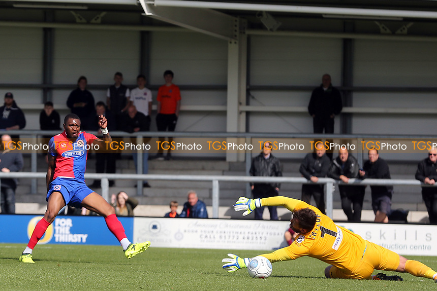 Morgan Ferrier of Dagenham scores the opening Daggers goal during AFC Fylde vs Dagenham & Redbridge, Vanarama National League Football at Mill Farm on 19th August 2017