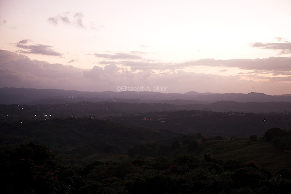 The sun setting over San Sebastián, Puerto Rico as seen from Route 119 on 4th January 2012.