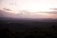 The sun setting over San Sebastián, Puerto Rico as seen from Route 119 on 4th January 2012.