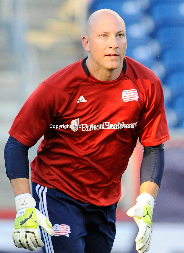 MAY 19 2012  New England Revolution goalkeeper Matt Reis #1 warming up to face the Houston Dynamo at Gillette Stadium on Saturday...