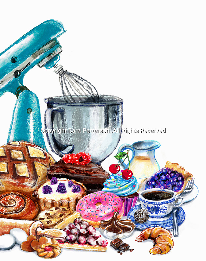 Variation of pastries and sweets and mixer