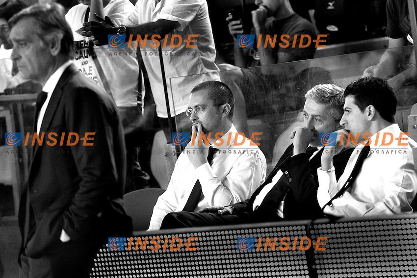 Marco Calvani, allenatore della Roma, e Claudio Toti, presidente della Virtus<br /> 11/06/2013 Roma, Palatiziano<br /> Play Off Basket, finali gara 1.<br /> Acea Virtus Roma vs Montepaschi Siena<br /> Foto Antonietta Baldassarre / Insidefoto
