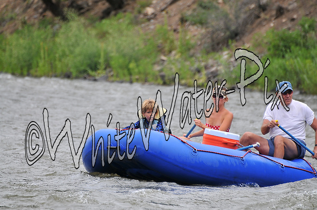 Colorado River Center crashing Cable Rapid while floating the Upper Colorado River from Rancho to State Bridge, August 1, 2013, Afternoon Trip, PM, Bond, Colorado - WhiteWater-Pix | River Adventure Photography - by MADOGRAPHER Doug Mayhew
