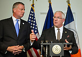 Mayor Bill de Blasio of New York City, left, and NYPD Deputy Commissioner of Intelligence & Counter-terrorism John Miller, right, hold a press briefing following their meetings at the White House with senior officials on the terrorism threat and dealing with the Ebola crisis in Washington, D.C. on Tuesday, October 14, 2014. <br /> Credit: Ron Sachs / CNP<br /> (RESTRICTION: NO New York or New Jersey Newspapers or newspapers within a 75 mile radius of New York City)