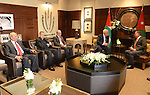Jordanian King Abdullah II, right, meets with Palestinian President Mahmoud Abbas in Amman, Jordan, Wednesday, Nov. 12, 2014. Abbas' adviser Nabil Abu Rdeneh said Abbas was also scheduled to meet U.S. Secretary of State John Kerry in the Jordanian capital on Thursday, and would emphasize his concerns about alleged Israeli attempts to change the status quo at the Jerusalem holy site, known to Jews as the Temple Mount and to Muslims as the Noble Sanctuary. Photo by Thaer Ganaim