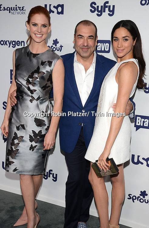Sarah Rafferty, Rick Hoffman and Meghan Markle of &quot;Suits&quot; attend the NBCUniversal Cable Entertainment Upfront <br /> on May 15, 2014 at The Javits Center North Hall in New York City, New York, USA.