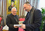 Father Michel Jalakh (right), general secretary of the Middle East Council of Churches, talks with Patriarch Louis Rafael Sako, president of the synod of the Chaldean Catholic Church, during the visit of an ecumenical delegation to Sako's office in Baghdad, Iraq, on January 21, 2017.