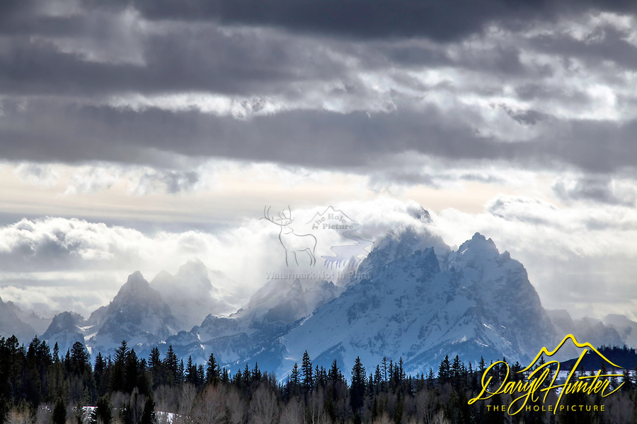 Stormy Peaks, Grand Teton Range From Buffalo Valley, Jackson Hole,  Wyoming.