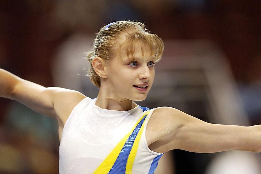 Alina Kozich of Ukraine performs at 2003 World Championships Artistic Gymnastics on August 14, 2003 at Anaheim, California, USA.