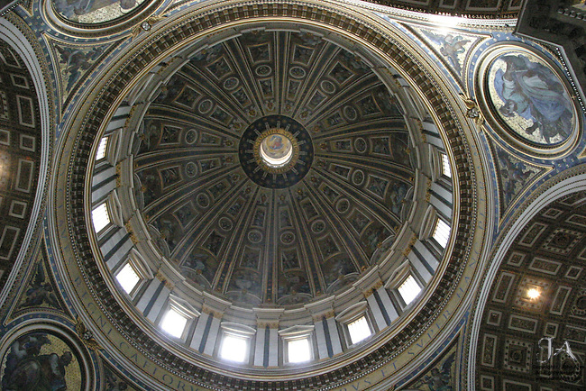 Skyward view of the Dome of St Peter's Basilica