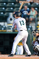 Jupiter Hammerheads shortstop Justin Bohn (13) at bat during a game against the Bradenton Marauders on June 25, 2014 at McKechnie Field in Bradenton, Florida.  Bradenton defeated Jupiter 11-0.  (Mike Janes/Four Seam Images)