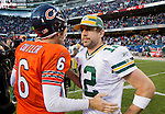 Green Bay Packers quarterback Aaron Rodgers (12) and Chicago Bears quarterback Jay Cutler (6) chat at midfield after a week 3 NFL football game on September 25, 2011 in Chicago. The Packers won 27-17. (AP Photo/David Stluka)