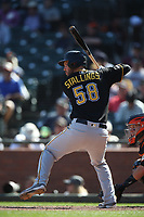 SAN FRANCISCO, CA - SEPTEMBER 12:  Jacob Stallings #58 of the Pittsburgh Pirates bats against the San Francisco Giants during the game at Oracle Park on Thursday, September 12, 2019 in San Francisco, California. (Photo by Brad Mangin)