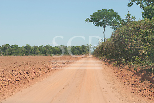 Xingu, Mato Grosso, Brazil. Newly cleared fields for soya surrounded by forest and a dirt road.