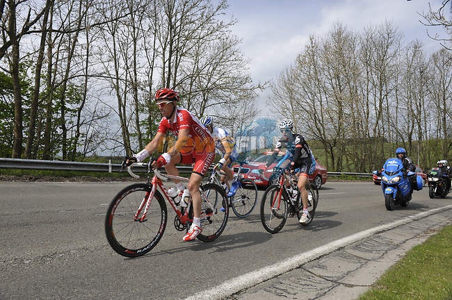The lead breakaway group featuring Nico Sijmens Cofidis, Marcel Wyss (GER) Cervelo, Cyril Gautier (FRA) Bbox pass Longchamps during the 95th running of Liege-Bastogne-Liege cycle race, running 261km from Liege to Ans, Belgium. 26th April 2009 (Photo by Eoin Clarke/NEWSFILE)