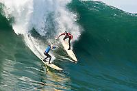 Tyler Smith and Greg Long.  Mavericks Surf Contest 2008.  Half Moon Bay, Ca.  January 12, 2008.