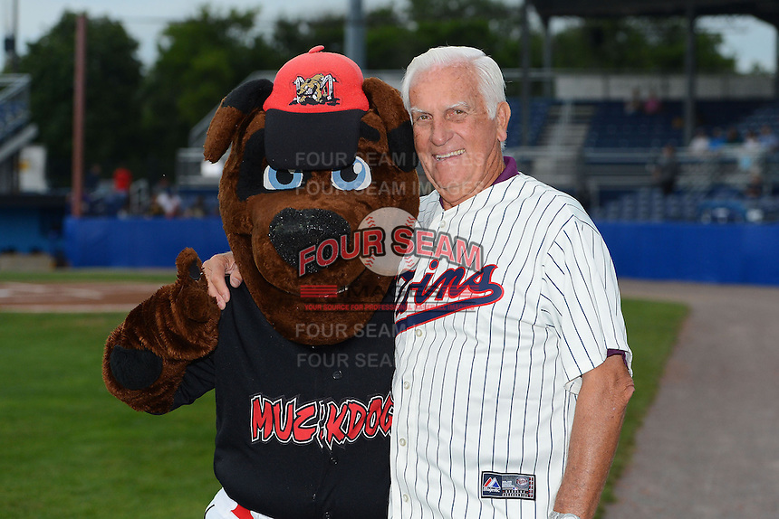 Former Cy Young Award winner and Minnesota Twins pitcher Jim Perry poses for a photo with the Batavia Muckdogs mascot Homer before a game against the Jamestown Jammers on July 23, 2013 at Dwyer Stadium in Batavia, New York.  Jamestown defeated Batavia 7-0.  (Mike Janes/Four Seam Images)