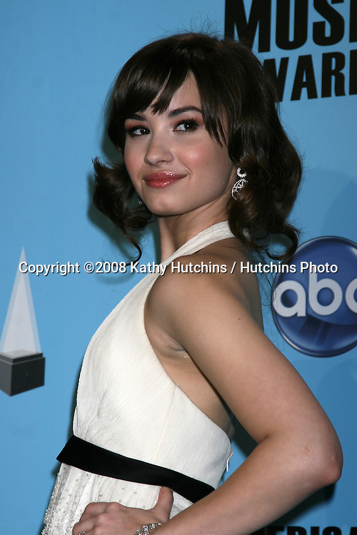 Demi Lovato in the Press Room of the American Music Awards 2008 at the Nokia Theater in Los Angeles, CA.November 23, 2008.©2008 Kathy Hutchins / Hutchins Photo....
