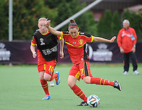 20140715 - Strømmen , NORWAY : Belgian Elien Van Wynendaele pictured during the female soccer match between Women under 19 teams of  Belgium and Scotland , on the first matchday in group A of the UEFA Women Under19 European Championship at Strommen Stadion , Norway . Tuesday 15th July 2014 . PHOTO DAVID CATRY