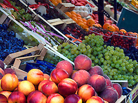 Produce stall at farmers market in Piazza delle Erbe, Padua Ital