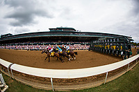 LEXINGTON, KY - OCTOBER 07: The field for the Claiborne Breeders' Futurity breaks from the gate at Keeneland Race Course on October 07, 2017 in Lexington, Kentucky. (Photo by Alex Evers/Eclipse Sportswire/Getty Images)