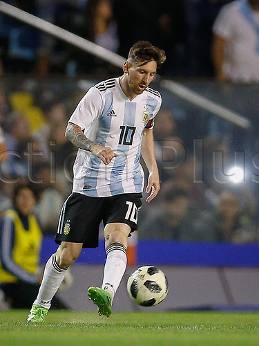 29.05.2018: ARGENTINA, Lionel Messi brings the ball forward in a friendly match between Argentina and Haiti, held at the Alberto Jose Armando Stadium, known as La Bombonera, located in the La Boca neighborhood in the capital of Buenos Aires.