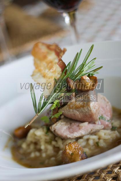 Europe/France/2A/Corse-du-Sud/Bonifacio: Hotel Restaurant A Cheda Filet de veau moelleux avec son risotto aux girolles recette de Sebastien Moret