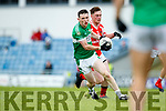 Timmy Moriarty West Kerry in action against Shaun Keane Legion in the Quarter Final of the Kerry Senior County Championship at Austin Stack Park on Sunday.