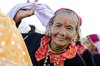 A villager from the Munsyari area in India's Kumaon Himalayas dances at the Nanda Devi festival.