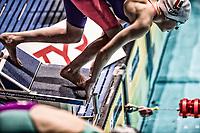 Picture by Allan McKenzie/SWpix.com - 16/12/2017 - Swimming - Swim England Nationals - Swim England Winter Championships - Ponds Forge International Sports Centre, Sheffield, England - Swimmer prepares to dive in, start, starting block.