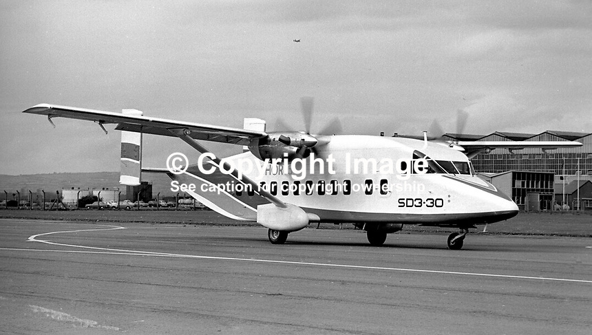 The Short SD3-30 on its maiden flight on 22nd August 1974 from Belfast Harbour Airport, N Ireland, were from left John Richardson, co-pilot, Cliff McKee, chief development officer, and Don Wright, chief test pilot. Described by Short Brothers plc as a luxury commuter aircraft it will carry 30 passengers plus crew. Taxiing just before take-off. 197408220453e<br /> <br /> Copyright Image from Victor Patterson, 54 Dorchester Park, <br /> Belfast, UK, BT9 6RJ<br /> <br /> t1: +44 28 9066 1296 (from Rep of Ireland 048 9066 1296)<br /> t2: +44 28 9002 2446 (from Rep of Ireland 048 9002 2446)<br /> m: +44 7802 353836<br /> <br /> e1: victorpatterson@me.com<br /> e2: victorpatterson@gmail.com<br /> www.victorpatterson.com<br /> <br /> Please see my Terms and Conditions of Use at www.victorpatterson.com. It is IMPORTANT that you familiarise yourself with them.<br /> <br /> Images used on the Internet must be visibly watermarked i.e. &copy; Victor Patterson<br /> within the body of the image and copyright metadata must not be deleted. Images <br /> used on the Internet have a size restriction of 4kbs and will be chargeable at current<br />  NUJ rates unless agreed otherwise.<br /> <br /> This image is only available for the use of the download recipient i.e. television station, newspaper, magazine, book publisher, etc, and must not be passed on to any third <br /> party. It is also downloaded on condition that each and every usage is notified within 7 days to victorpatterson@me.com<br /> <br /> The right of Victor Patterson to be identified as the author is asserted in accordance with The Copyright Designs And Patents Act (1988).