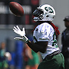 Lucky Whitehead #82 of the New York Jets makes a catch during team practice at the Atlantic Health Jets Training Center in Florham Park, NJ on Saturday, July 28, 2018.
