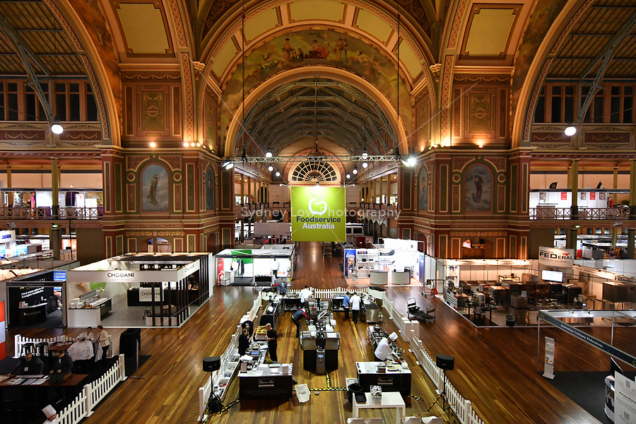 Melbourne, 30 May 2017 - The stage area for the Australian selection trials of the Bocuse d'Or culinary competition held during the Food Service Australia show at the Royal Exhibition Building in Melbourne, Australia. Photo Sydney Low