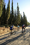 Israel, Shephelah, Cycling on the historic Burma road .