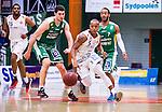 S&ouml;dert&auml;lje 2014-04-15 Basket SM-Semifinal 5 S&ouml;dert&auml;lje Kings - Uppsala Basket :  <br /> Uppsalas Thomas Jackson i kamp om bollen med S&ouml;dert&auml;lje Kings Toni Bizaca <br /> (Foto: Kenta J&ouml;nsson) Nyckelord:  S&ouml;dert&auml;lje Kings SBBK Uppsala Basket SM Semifinal Semi T&auml;ljehallen
