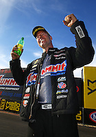 Feb 28, 2016; Chandler, AZ, USA; NHRA pro stock driver Jason Line celebrates after winning the Carquest Nationals at Wild Horse Pass Motorsports Park. Mandatory Credit: Mark J. Rebilas-USA TODAY Sports