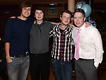 John Tiernan and Luke O'Brien celebrating their 21st birthdays in the Thatch with friends Nathan Murphy and James Bannon. Photo:Colin Bell/pressphotos.ie