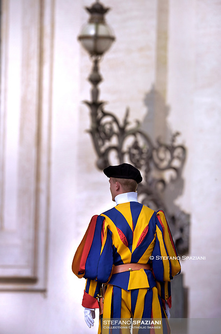 Swiss Guard.Pope Francis during of a weekly general audience at St Peter's square in Vatican, Wednesday.October 30, 2019