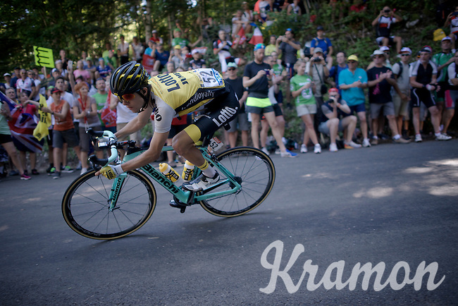 George Bennet (NZL/LottoNL-Jumbo) descending the Grand Colombier <br /> <br /> stage 15: Bourg-en-Bresse to Culoz (160km)<br /> 103rd Tour de France 2016