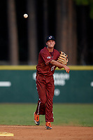 Macon Bacon shortstop RJ Yeager (45) throws to first base during a Coastal Plain League game against the Savannah Bananas on July 15, 2020 at Grayson Stadium in Savannah, Georgia.  (Mike Janes/Four Seam Images)