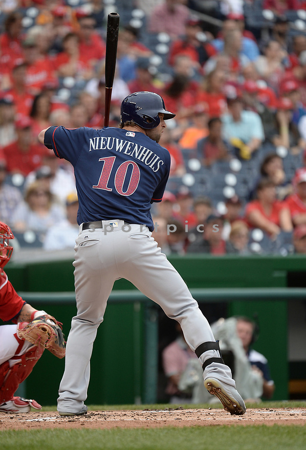 Milwaukee Brewers Kirk Nieuwenhuis (10) during a game against the Washington Nationals on July 4, 2016, at Nationals Park in Washington DC. The Brewers beat the Nationals 1-0.